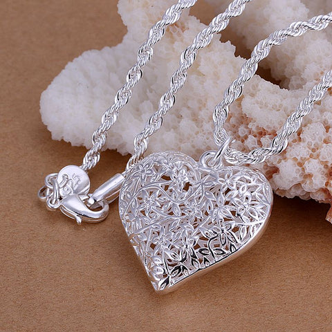 Free Silver Sand Flower heart pendant necklace (just pay shipping)
