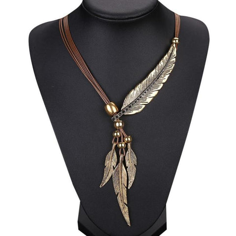 Leather & Leaf Antiqued Vintage Style with Clasp Necklace  & Free Shipping