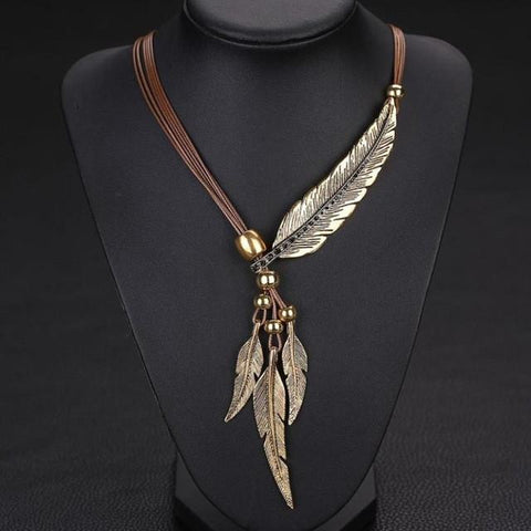 Image of Leather & Leaf Antiqued Vintage Style with Clasp Necklace  & Free Shipping