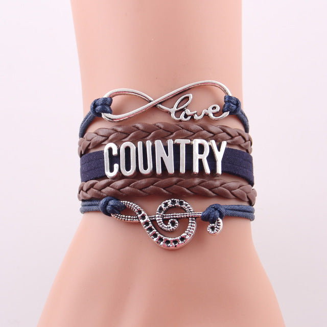 Love country Music bracelet & bangles for women Jewelry 50% off and free shipping