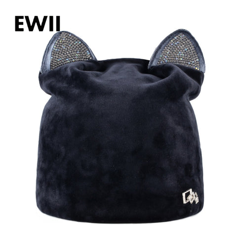 Image of Velvet & Rhinestone Cat Ear Beanie