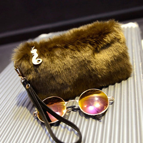 Image of Fur Clutch Handbag Wristlet Fashion Zipper Purses