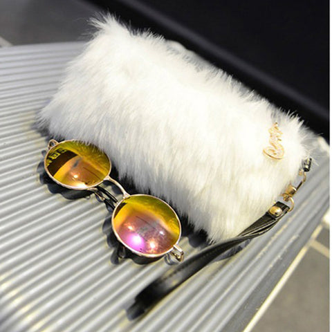 Fur Clutch Handbag Wristlet Fashion Zipper Purses