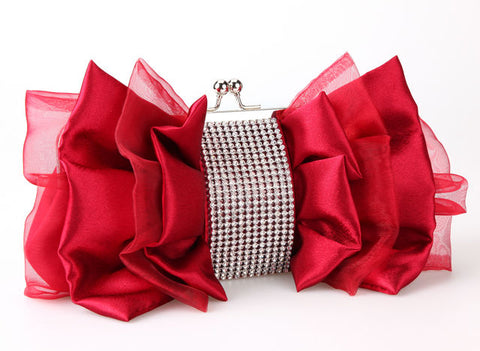Women handbags Women Clutch Wedding/bridal white/red Rhinestone silk satin Bag ladies evening/prom/shoulder/messenger bags