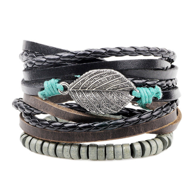 Free Bohemian Leather & Leaf bracelet handmade leather jewelry - Just Pay for Shipping