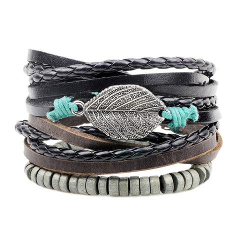 Image of Leather & Leaf bracelet handmade leather jewelry - Free Shipping