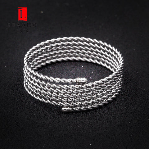 Image of Stainless Steel Silver Cuff Bracelet Simple Wide Bangle