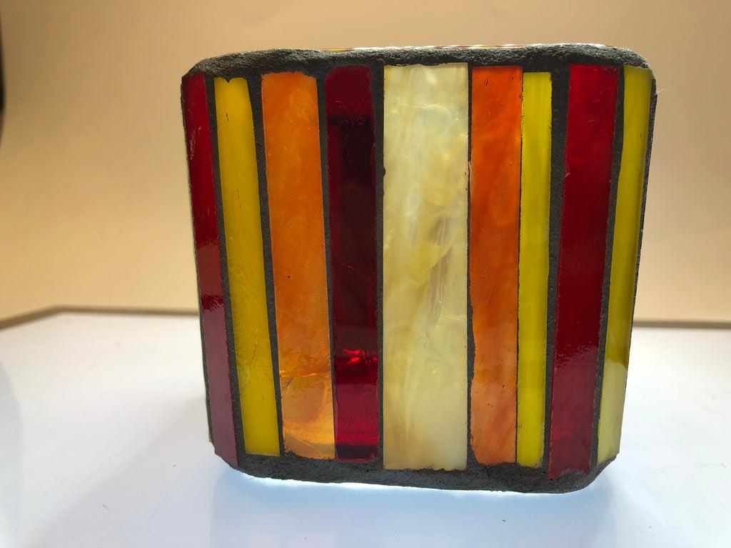 Tulip Mosaic Glass Votive