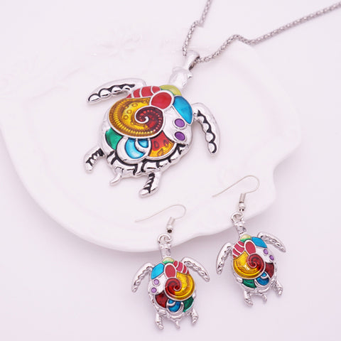 Image of Enamel Sea Turtle Necklace & Earring Set Vintage  Ethnic Inspired Jewelry