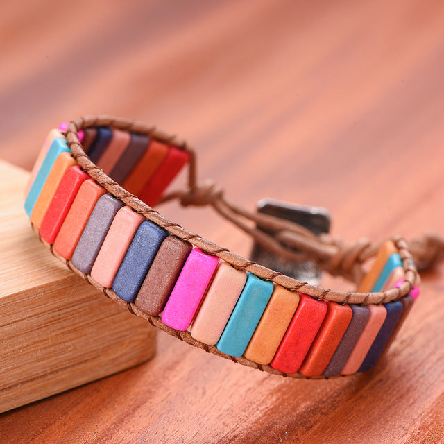 Chakra Bracelet Jewelry Handmade Multi Color Natural Stone Tube Beads Leather Wrap Couples Bracelets Creative Hologram Bracelets