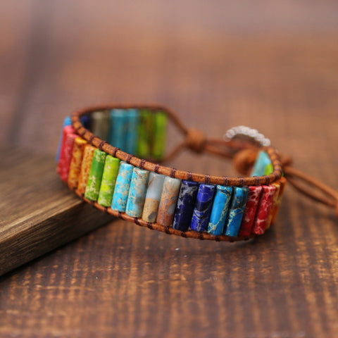 Image of Chakra Bracelet Jewelry Handmade Multi Color Natural Stone Tube Beads Leather Wrap Couples Bracelets Creative Hologram Bracelets