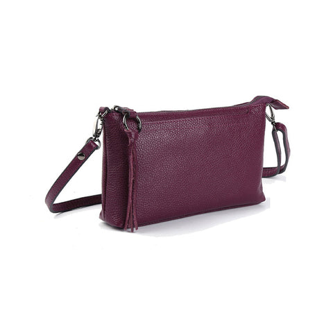 Image of Leather Clutch Genuine Cowhide Leather Small Handbags Cross body