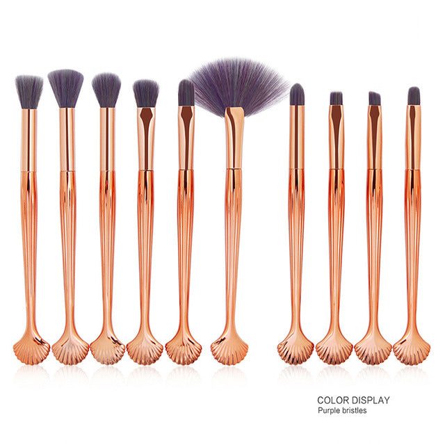 Professional 10 PCS Mermaid Makeup Brushes Set Foundation Blending Powder Eyeshadow Contour Concealer Blush Cosmetic Makeup Tool