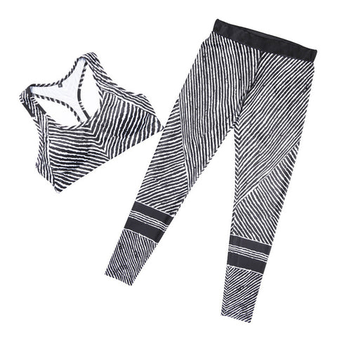 Image of YEL 2017 Compression Fitness Yoga Set Women Sport Costume Stripe Workout Leggings Female Gym Clothes Jogging Running Tracksuit