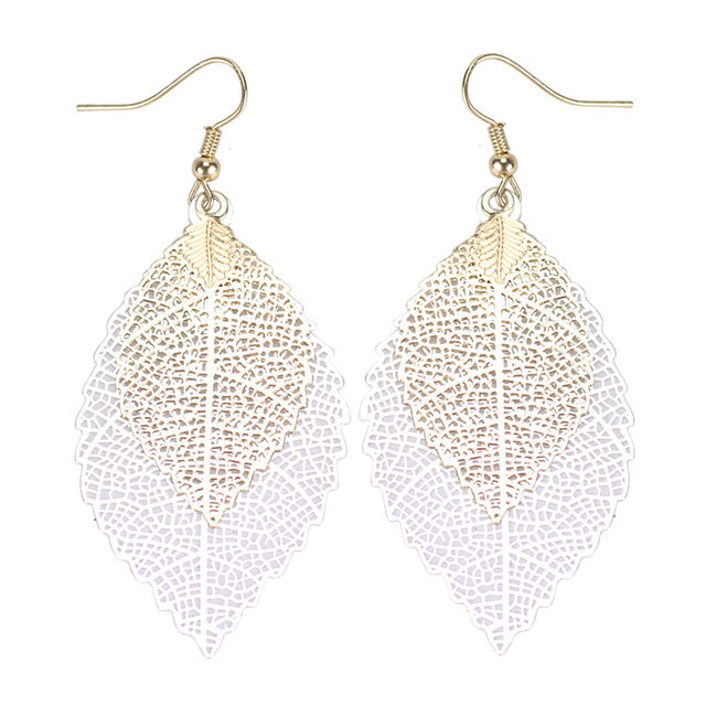 Delicate Bohemian Dual Color Leaf Dangle Vintage Leaves long drop Earrings