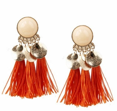 Image of Bohemian Gold & Tassel Dangle Earrings