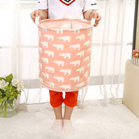 Image of Cotton Linen Waterproof Laundry Basket Folding Clothes Storage Box/Basket/Bucket Children Toys Organizer Container