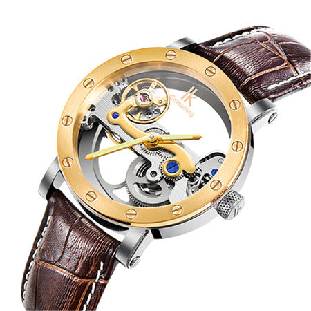 Image of Luxury Brand IK  Leather Strap Transparent Dial Golden Case Mens Watches Automatic Mechanical