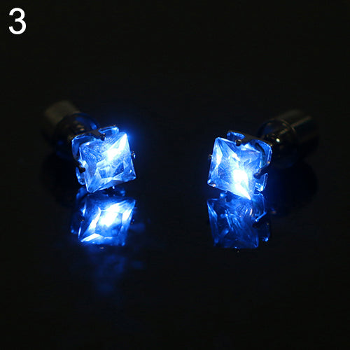 LED Light Ear Studs Square Earrings - Free + Shipping