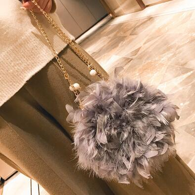 Image of New Women Handbags Quality Soft Fluffy Plush & Feathers Elegant Ladies Chain Round Shoulder bag