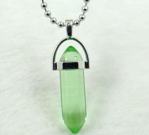 Image of Natural Stone Chakra Crystal pendant in Titanium in stainless steel necklace