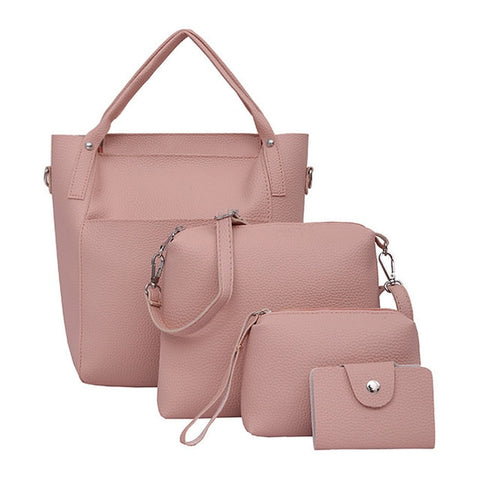 4pcs Women Bag Fashion Leather Messenger Bags Four Set Handbags Shoulder Bags Purse Four Pieces Tote Bag Crossbody Wallet