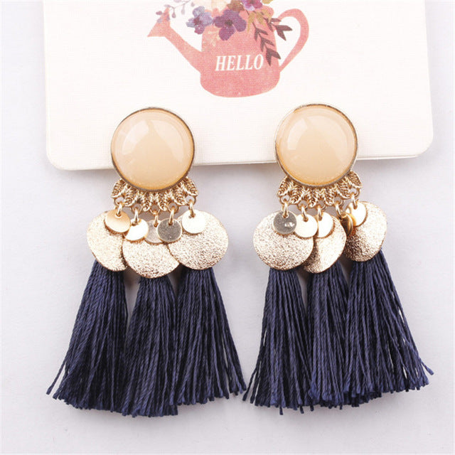 Bohemian Gold & Tassel Dangle Earrings
