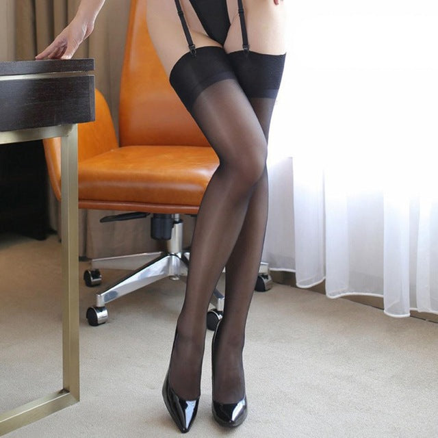 Women wide rib top cuff sexy stockings transparent silk stocking ladies thigh high stockings