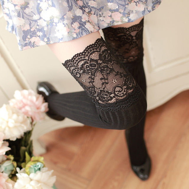 1Pair Sexy Stocking Warm Lace Thigh High Over The Knee Stockings