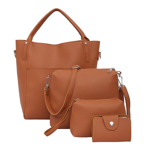 Image of 4pcs Women Bag Fashion Leather Messenger Bags 2018 Four Set Handbags Shoulder Bags Purse Four Pieces Tote Bag Crossbody Wallet