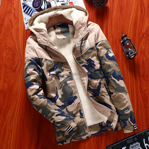 Image of Camo Jacket Men Thick Outwear Overcoat Winter Warm Mens Bomber Jackets Coats Casual Hoodies Male European New Brand Clothing 4XL