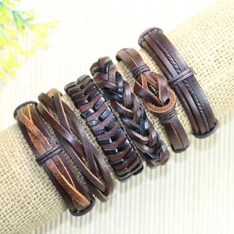 6pcs Handmade ethnic tribal genuine braided leather