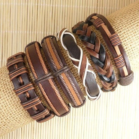 Image of 6pcs Handmade ethnic tribal genuine braided leather