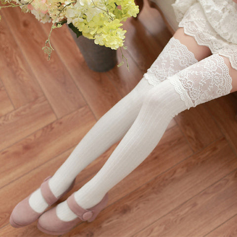 Image of 1Pair Sexy Stocking Warm Lace Thigh High Over The Knee Stockings