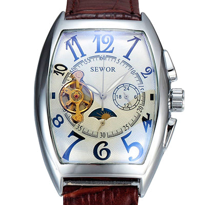 Image of Tourbillon Clock Tonneau Watch Automatic Wristwatch Mechanical