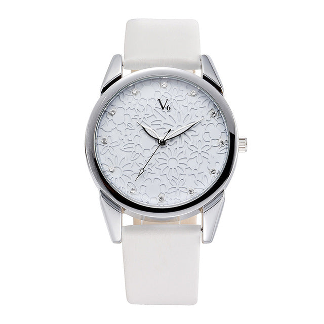 Flower Face Quartz Wrist Watch Women