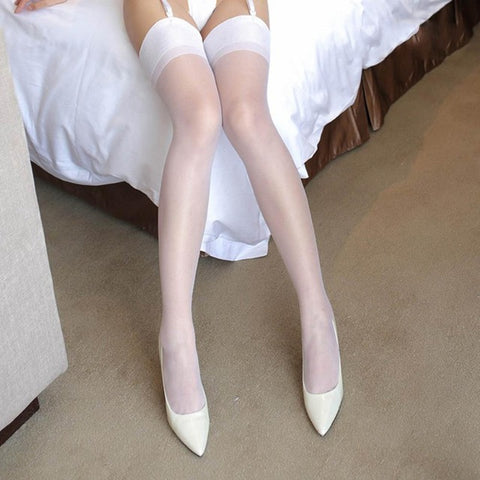 Image of Women wide rib top cuff sexy stockings transparent silk stocking ladies thigh high stockings