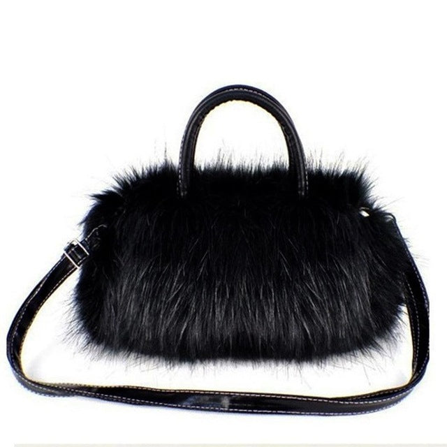 Faux Rabbit Fur bags Small Messenger Bag for Women Cross body Shoulder Strap Bag Winter