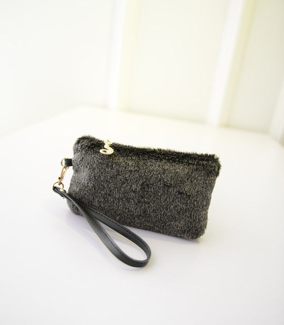 Faux Fur Handbag Plush Wristlet  Clutch for women