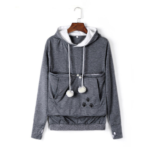 Image of Cat Lovers Hoodies With Cuddle Pouch With Cat Ears Sweatshirt