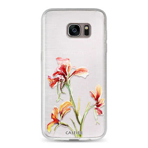 Image of Floral Flowers Leaves Phone Case For Samsung Galaxy S6 S7 Edge S8 Plus Note 8 Cases Capa Soft TPU Flowers Cover Silicone Shell Coque