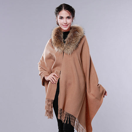 Image of Cashmere Wool Fur Shawl Women Winter Long Warm Fur Scarf