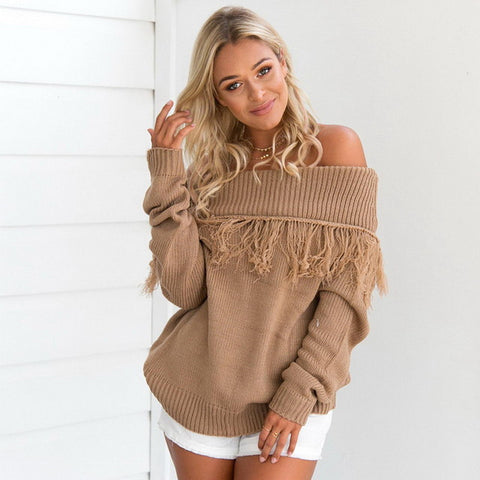 Image of Tassel Sweater Long sleeve Pullovers Loose Knitted Sweater Slash Neck Sexy Off Shoulder Tops