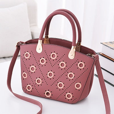 Image of Grommeted Leather Handbag with Grommets