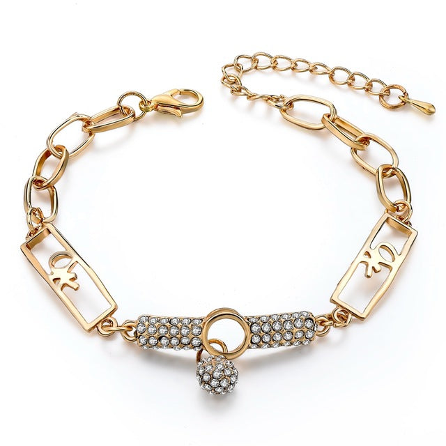 Art Deco Style Natural Stone Charm Bracelets & Bangles on gold chain