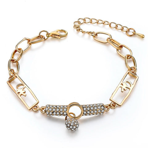 Image of Art Deco Style Natural Stone Charm Bracelets & Bangles on gold chain
