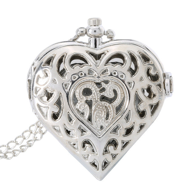 Fashion Silver Hollow Quartz Heart Shaped Pocket Watch Necklace Pendant Chain Clock Women Gift High Quality LXH