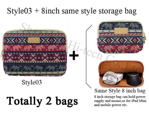 Image of Genuine Bohemia Laptop Bag National Style Shockproof Waterproof Laptop Sleeve Notebook Case For Macbook 10/11/12/13.3/14/15/17""