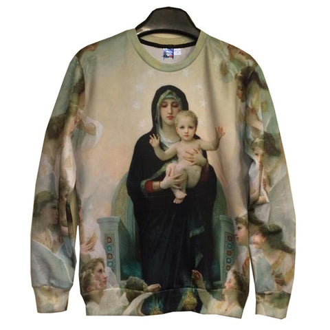 Mr.1991INC Men/Women's 3d Sweatshirts print Great mother Virgin Mary and Jesus cotton hoodies tops