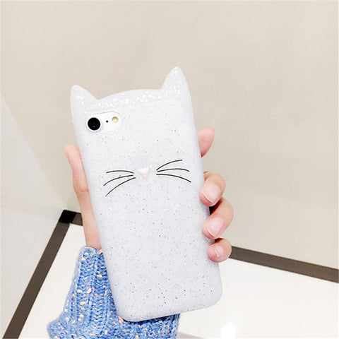 Image of For Samsung Galaxy S6 S6 Edge S7 Edge S8 S8Plus Case Cute 3D Black beard Cat Ears Animal Cartoon Capa Soft Silicone Phone Cases kitty